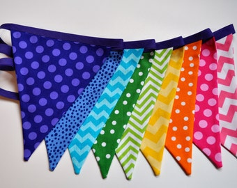 Spring Rainbow Fabric pennant banner, bunting, Candyland, Carnival, Easter or Birthday party decoration, cake smash photo prop, shower decor