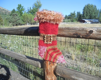 Santa's Jelly Belly Mohair Christmas Stocking, with brass buckle