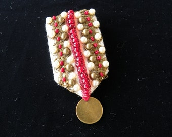 Military style beaded Fob Brooch, pin. YOU DESERVE A MEDAL - real costume jewellery