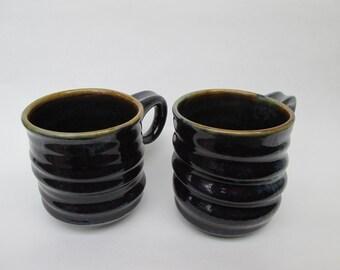 Handmade Ceramic Wavy Purple-Raspberry 12 oz. Mugs (set of 2)
