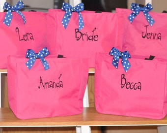Monogrammed Totes, Set of 5 Tote Bags, Bridesmaid Gifts, Personalized Totes for Bridal Party, Gifts for Your Girls