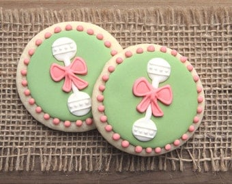 Baby Shower Favors // Baby Rattle Favors // Baby Rattle Sugar Cookies