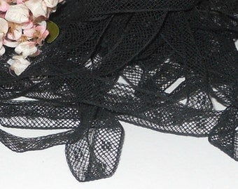 """Black French Cotton Lace Insertion, Fine Handsewing, Heirloom Sewing, Antique Lady Doll Garments (BCLI-071916) 3/8"""" wide - 1 Yard"""