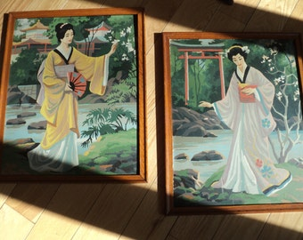 2 Vintage Paint by Number portrait paintings of 2 Geisha girls in formal attire in a Japanese Garden Setting in Vintage Condition with flaws