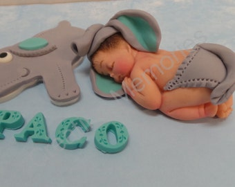 Grey and Teal ELEPHANT BABY elephant baby cake topper. Great for baby showers, first birthday or any occasion