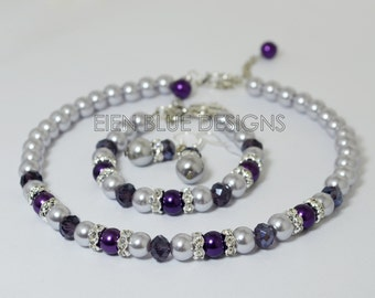 Gray & Purple Pearl Jewelry Set, Purple/Gray Bridesmaid Jewelry,  Pearl Strand Necklace, Silver Glass Pearl Strand Necklace, Pearl Jewelry