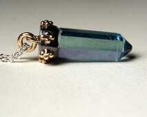 Mixed Metals Polished Aqua Aura Quartz Point Necklace in Recycled 14kt Yellow Gold and Sterling Silver