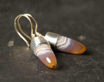 Mixed Metals Botswana Agate Earrings in Recycled 14kt Yellow Gold and Sterling Silver