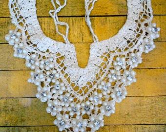 Ecru Crochet Rhinestone Collars