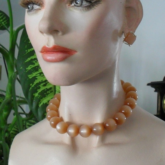 Moonglow Necklace and Earrings Choker Chain Strung Beads Fawn Orange Peach Vintage Jewelry Sale