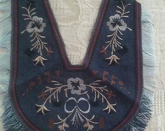 Yoke Denim Embroidered Fringe Vintage Notions Trim