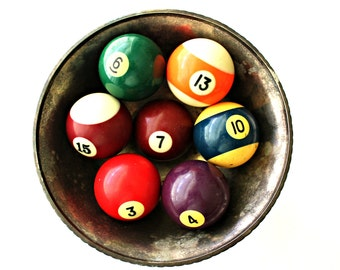 vintage pool balls solid and stripe, vase filler, bowl filler, game room decor