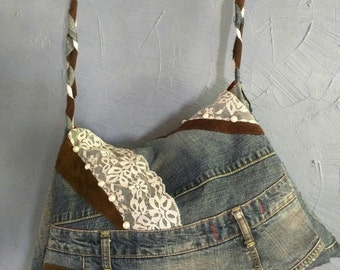 Large Denim Sholder Bag Handmade purse, Recycled Denim, Hippie, Hobo hand made, one of a kind, Up-Cycled braided reclaimed denim gift