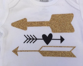 Baby Girl's Long Sleeved Body Suit with Black and Glitter Flake Gold Arrows