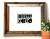 Geometric Art Print - Triangles and Lines - Home Decor - Modern Art Print - Linocut Block Print - Original or Digital Print