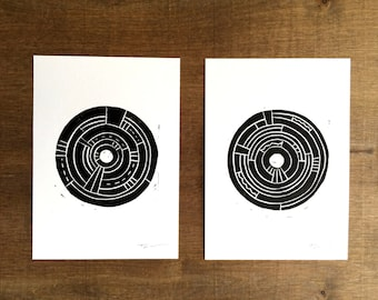 Linocut Print - Set of Two Modern Circles with Patterns 5 x 7 Block Print - 1-7027