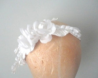 Bride's Hair Band, Wedding Headband, White Rose Hairband, Wedding Fascinator, White Rose Flower Crown, Bridesmaids, Summer Festival Headband