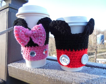 Crochet Coffee Cozies ~ Disney Themed ~ HotDiggityDog Coffee Cozies ~ READY TO SHIP