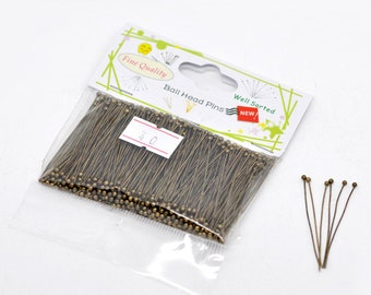 """500 Ball Head Pins - Antique Bronze - COPPER Material - Well Sorted - 0.5mm - 24 Gauge - 40mm - 4cm - 1-5/8""""   - Ships IMMEDIATELY - F348"""