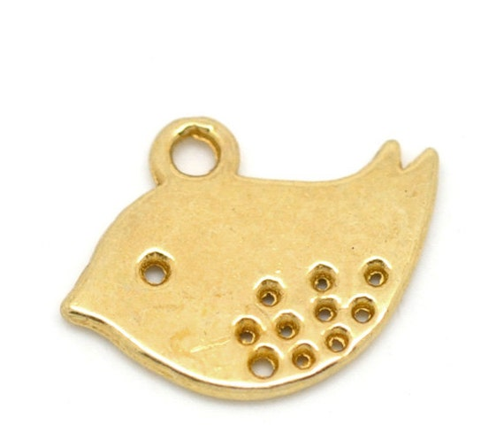50 gold bird charms wholesale gold plated 16x13mm