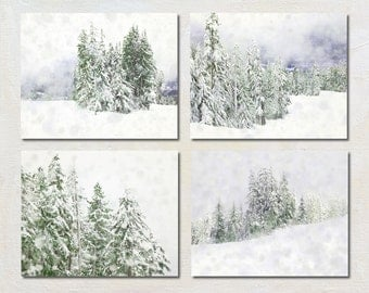 Winter Photography Set of 4 Prints, Ski Photograph Set, Forest Pictures, White and Green Art Set, Whistler Artwork, Mountain Cabin Decor