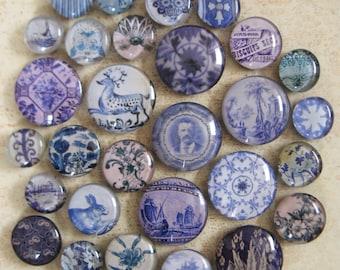 Antique Transferware Blue Transfer Ware Historical China Large Glass Magnet Collection Delft Flow Blue Salt Glazed Crock Vintage Decor
