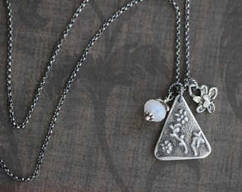 FLASH SALE Triangle Charm Necklace, Botanical Charm, Pendant, Rustic, Boho, Sterling Silver,  Moonstone, Wire wrapped, Botanical, Floral, Ge