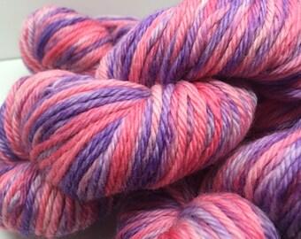 Hand Painted, Bulky Weight, Machine Washable, Wool Yarn - First Crush