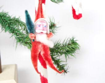 Vintage 1950's Santa Chenille Candy Cane Christmas Tree Ornament, Hand Painted Face
