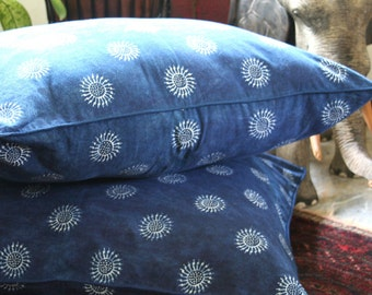 "30"" Boho Floor Pillow, Double Sided Ethnic Hmong Indigo Batik Pillow, Large Floor Cushion Covers, Free Worldwide Shipping"