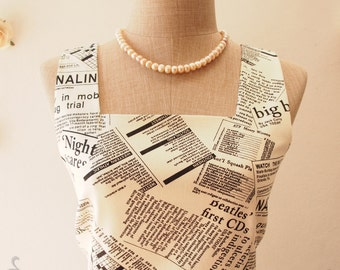 Casual Dress Newspaper Dress Journalist Dress Chic Summer Dress Vintage Retro Dress Pleated Skirt Dress Vintage Dress- XS-XL,Custom