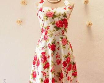Beach Wedding Party Red Dress - Summer Dress - Shabby Chic Vintage Floral Dress - Floral Bridesmaid Dress - Cotton Dress - XS-XL, Custom