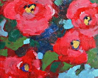 """Small Abstract Painting, Original Acrylic Painting, Colorful, Modern, Red """"Roses"""" 8x8"""