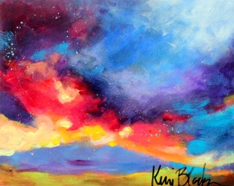 "Small Abstract Sky Scape, Landscape Colorful, Cloud, ""Storm Coming In"" 8x10"