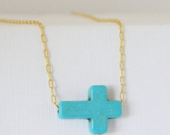Turquoise Cross Layering Charm Necklace