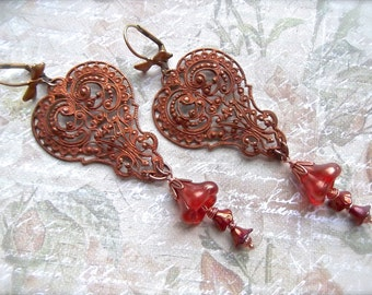 Vintage French Filigree, Gingerbread Patina, Large Czech Flower Bell Cap, Small Czech Bell Cap, Long Earrings, Bow Leverbacks