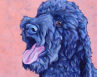 """Custom Pet Portrait Painting in Acrylic on 12"""" x 12"""" Canvas of Dog, Cat, Other Animal ready to hang pet memorial or dog lover art gift."""