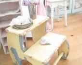 yellow  step stool chippy painted shabby chic farmhouse stool
