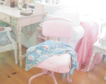 Vintage pink chair with castors shabby chic prairie cottage