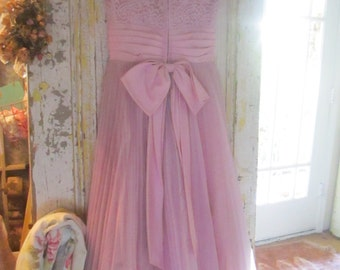 Vintage lace lavender prom dress shabby chic prairie country cottage