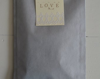 Bundle of 100 grey/silver Kraft paper favor bags --- For your party favors, small holiday presents or wedding favors