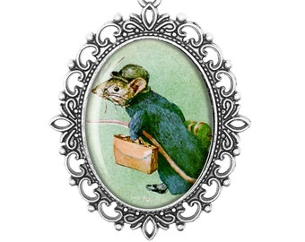 Beatrix Potter 'Johnny Town Mouse' Vintage Inspired Bronze Silver Large Cameo Necklace Jewellery