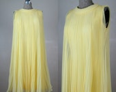 Vintage 1960s Dress 60s Yellow Chiffon Pleated Trapeze Dress by Miss Elliette Size 8M