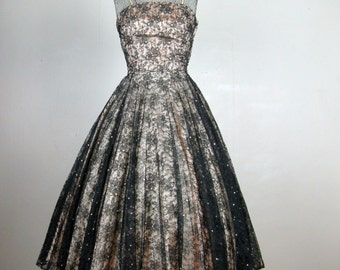 Vintage 1950s Black Chantilly Lace  Dress 50s Sexy Rhinestone Studded Lace Illusion Full Circle Skirt Cocktail Dress Size 2/4 Small