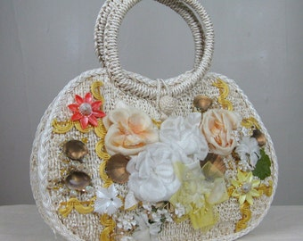 Vintage 1960s Handbag with Silk Flowers and Seashells  Cute 60s Straw Purse