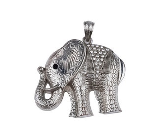 Silver Elephant Pendant, Rhinestones, Metal Pendant