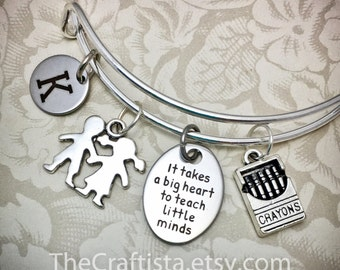 Personalized Teacher Adjustable Bangle, TB1 Teacher's Gift, Teacher Jewelry, Crayons Charm, Kids Charm, Teacher Gifts, Teacher Charm