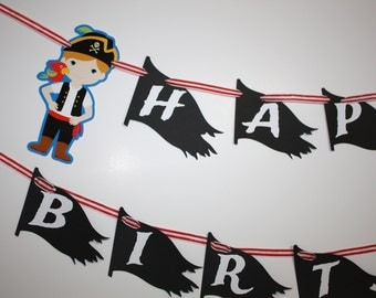 Pirate Banner, Pirates Party Happy Birthday Party Banner, Pirate Ship Pirate Flag, READY TO SHIP, Pirates Birthday Party Decorations