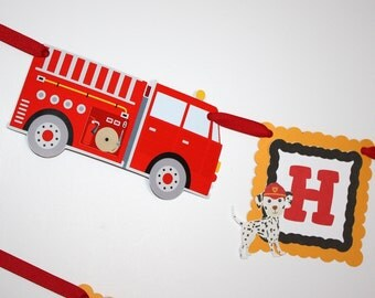 Firetrucks & Dalmatians Banner, Birthday Party Banner, Happy Birthday Banner, READY TO SHIP, Firetrucks Birthday Party Decorations