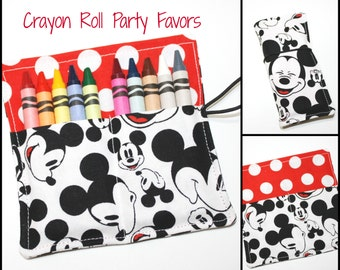 Crayon Rolls made from Mickey Mouse Fabric, crayon sleeves, crayon wraps hold up to 10 Crayons, Mickey Mouse Birthday Party Favors